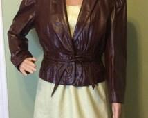 SALE: 1980s Wilson's Puff Sleeve Oxblood Leather Jacket, S-M