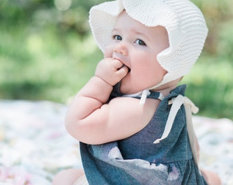 Vintage Inspired Sun Bonnet for Baby Girl, Organic Cotton Bonnet for Girl, Camilla Sunbonet
