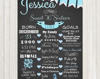 SWEET 16 BIRTHDAY Chalkboard Style Poster - Birthday Chalkboard Custom Poster Birthday Board - Boy or Girl DIY Digital File