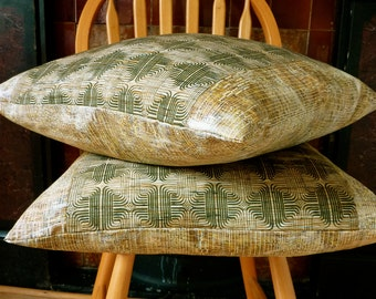 Gold Ochre Retro Geometric Green Marble Vintage Japanese Kimono Wool & Silk Fabric Pillow Cushion Cover