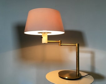 Rare Vintage Gerald Thurston For Lightolier Mid Century Modern Brass Swing Arm Table Desk Lamp