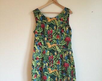 90s Tropical Sun Dress. 1990s Green Parrot Sleeveless Dress. Large.