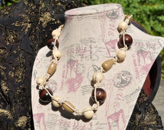 Wood Bead Hemp Necklace