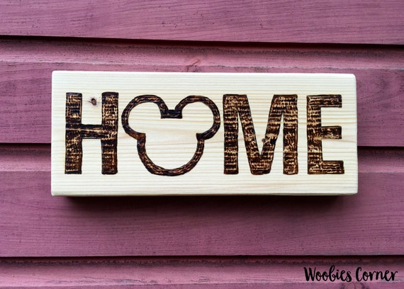 Disney home sign rustic home decor rustic wall by for Home decor signs