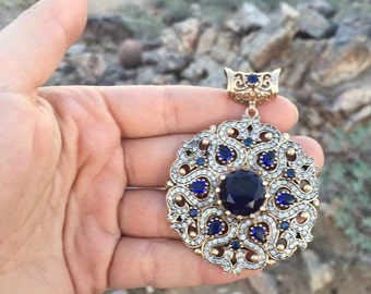 Boho Pendant, 925 Sterling Silver and Brass Turkish Jewelry- STLG003