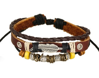 Feather Charm Bracelet - Truth - Light - Virtue, Women's Brown Leather Braclet,  CH-53