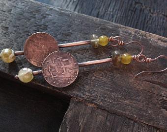 Copper Earrings, Statement Earrings, Round Earrings, Dangle Earrings, Bohemian Earrings, Boho Earrings, Rustic Earrings