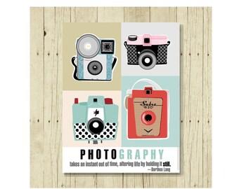 Photography Magnet, Vintage Camera, Fridge Magnets, Gift for Him, Gift for Her, Cute Fridge Magnet, Gifts Under 10, Photographer Gift