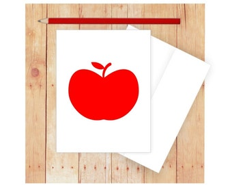 Apple Card, Blank Note Card, Blank Greeting Card, Apple Stationery, Red, Fruit Cart, Apple Note Card, Apple Greeting Card, Thank You Card