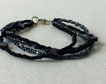 black layered beaded bracelet