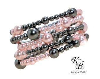 Pearl Cuff Bracelet, Multi Strand Bracelet, Bridal Bracelet, Pearl Bridal Jewelry, Bridesmaid Jewelry, Bridesmaid Bracelet, Prom Jewelry