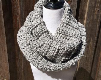 Gray/White blend Infinity Cowl; White/Gray Infinity Cowl; Gray and white Crochet Cowl; Women's Cowl; Handmade Cowl;