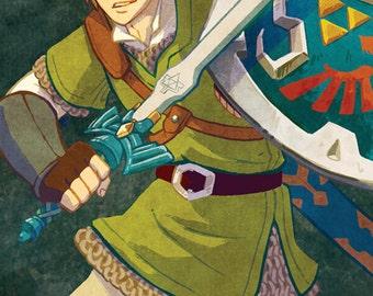 """The Legend of Zelda Skyward Sword Link Fan Art Print, 11x17"""""""