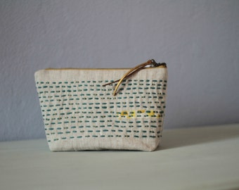 Sashiko embroidered linen pouch, Natural linen cosmetic bag, Hand embroidered makeup bag, Toiletry bag, Gift idea, Makeup pouch, Linen purse