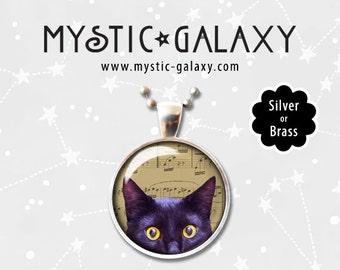 Peeking Black Cat Necklace, Cat Pendant, Music Note Jewelry, Cat jewelry