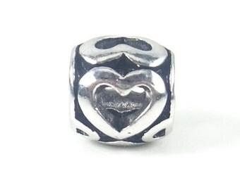 Silver Heart Bead, Heart Charm, Large Hole Bead, European Bead, Charm Bead, Charm Bracelet, European Charm, Big Hole Bead