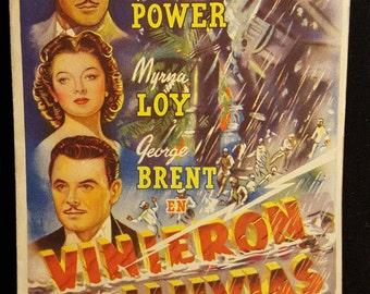 Original 1939 The Rains Came Spanish Herald Movie Poster Myrna Loy, Tyrone Power, George Brent