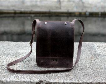 Leather bag, minimalist bag, mens bag, shoulder bag, handmade leather bag, Planshetnik (S) Brown