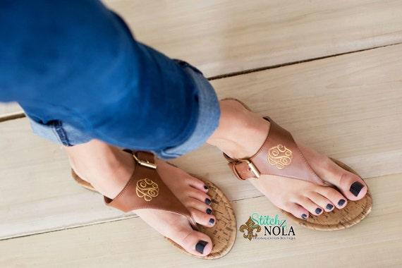 FAST SHIP!! Monogrammed Sandals, Monogrammed Flip Flops, Tan or Black Sandals