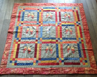 Nice quilted patchwork from the 80' with a design of parrots
