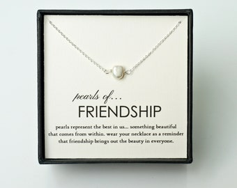 Friendship Gift - Single Pearl Silver Friendship Necklace, Friendship forever/ Birthday/ Sister/ Roommate/ Eternity Necklace Gift