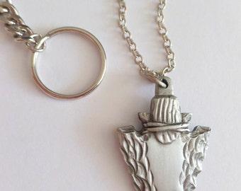 Arrowhead key chain zipper pull pendant / car accessory / diorama /assemblage, native american arrowhead, arrow head jewelry supply, grey