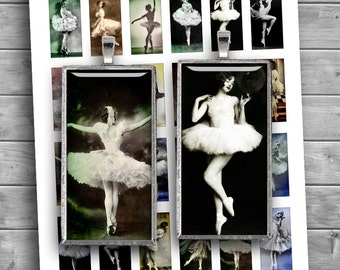 Vintage Ballerina 1.5x2.5 inch 1x2 inch 0.75x1.5inch Domino printable images for Pendants Digital Collage Sheet - Instant Download