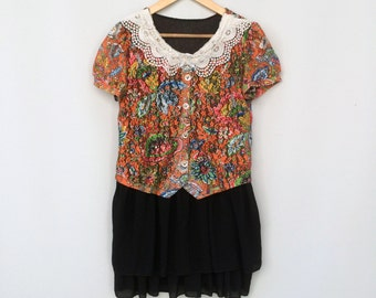 Vintage dress / ROMANTIC mini dress / PREPPY floral handmade dress with white lace colar