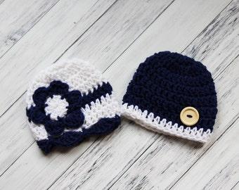Crocheted Baby Hats, Twin Baby Hats, Boy Girl Twin Gift, Twin Newborn Hats, Twin Boy and Girl, Newborn Twin Prop, Twin Beanies