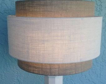 3 Tiered hardback lamp shade in off-white and gray burlap fabric. Best for floor lamps. Free shipping to lower 48 states.