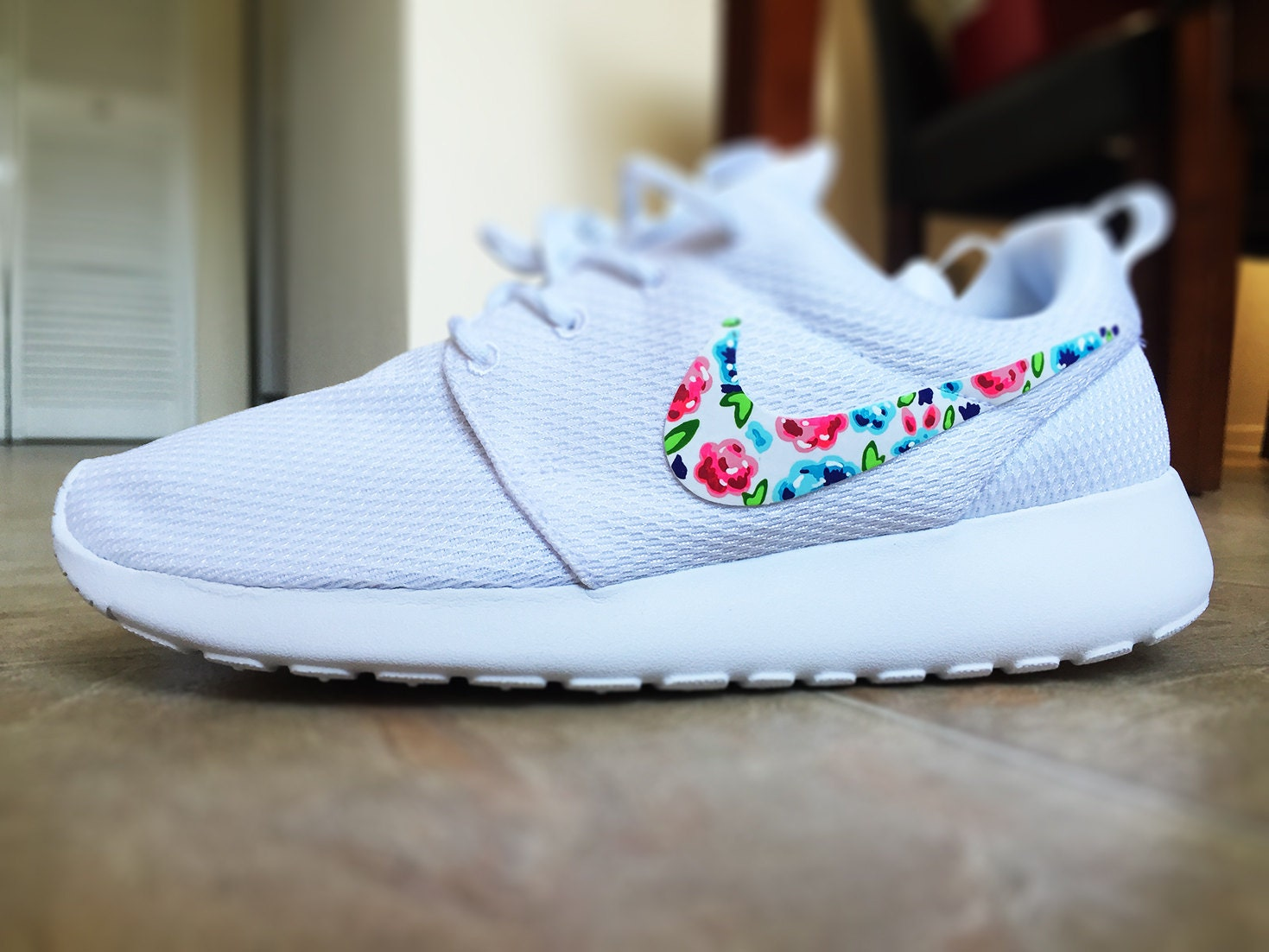 Womens Custom Nike Roshe Run Floral design Custom Floral
