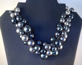 Cluster of Gray Pearls Necklace/Choker