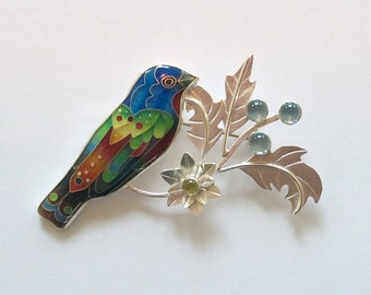 Painted Bunting Brooch - Bird Brooch - Cloisonne - Enamel - Cloisonne jewelry - Handmade - Colorful bird - Michael Romanik - Made to order