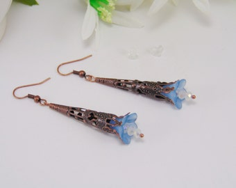 Victorian Jewelry, Victorian Earrings, Earrings, Flower Earrings, Flower Jewelry, Victorian, Antique Copper, Antique Copper Earrings