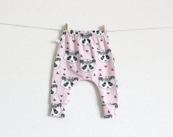 Pink slim fit harem pants with pandas. Organic baby or infant pants. Jersey knit fabric. Kids leggings with cuffs. Cute panda pattern