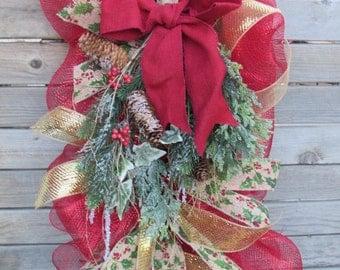 Christmas Teardrop Christmas Door Decor Greenery Pine Cone Tear Drop Christmas Deco Mesh Teardrop Christmas Swag Red
