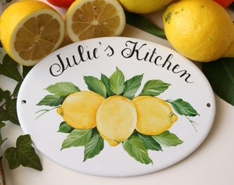 Ceramic lemon personalized kitchen signs, kitchen wall signs, custom kitchen signs, kitchen decor signs, personalized kitchen gift