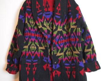 Vintage 90s Southwest Blanket Jacket / Pendleton / Navajo / Wool / USA