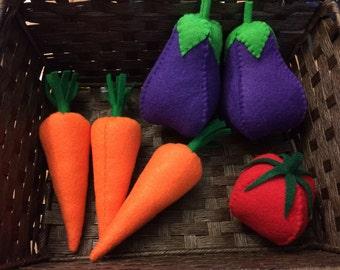 Felt Summer Vegetable 7 Pc Set, Felt Produce, Felt Food, Play Food