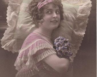 ON SALE 20% OFF Vintage French Romantic postcard . Romantic Woman.