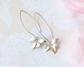 Silver orchid earrings, long dangle earrings, modern everyday earrings, matte silver flower earrings, silver bridal earrings girlfriend gift