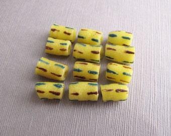 12pcs Yellow Handmade Tube Beads, African Tribal Recycled Krobo Glass Beads, Painted Fair Trade Beads, Ghana Beads 13x8mm - B-091AMCFS-17