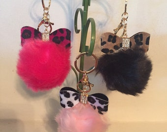 Cute Pom Pom with Bow Purse Charms!