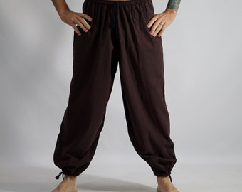 BAGGY PANTS Solid Brown - Pirate Pants, Medieval, Renaissance Festival, Buccaneer, Steampunk, Larp Costume, Cosplay, Costume with Pockets