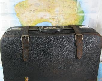 Brown Walrus Suitcase Vintage  Circa 1930's