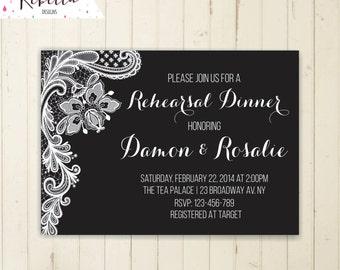 black and white rehearsal dinner invitation black and white party invitation rehearsal invitation wedding rehearsal invite elegant lace
