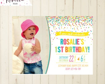 2nd birthday invitation girl confetti invitation rainbow birthday invitation 3rd birthday girl invitation 4th birthday 5th invitation 163
