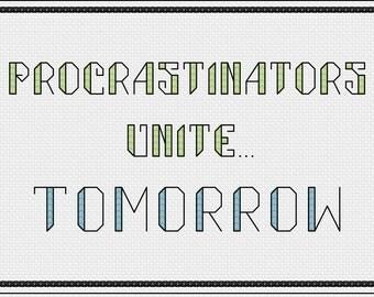 Funny Cross Stitch Pattern - Procrastination Cross Stitch Pattern