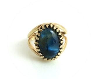 Blue Tiger Eye Ring, Gold Ring, Tiger's Eye Jewellery, Blue Ring, Oval Gold Ring, Tiger Eye Gemstone, Gift for Her