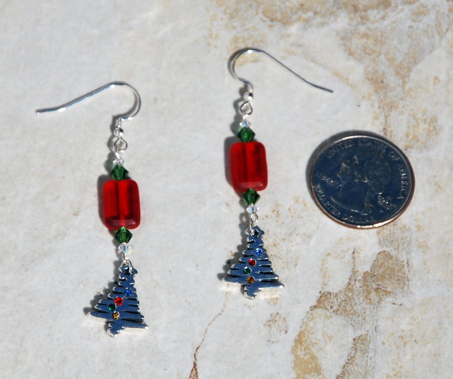 Sterling silver and crystal christmas tree earrings red and for Sterling silver christmas jewelry